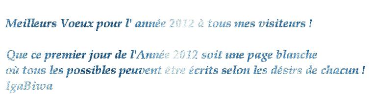 Meilleurs Voeux Pour Lannée 2012